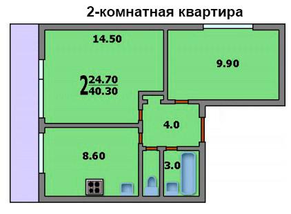 Дома серии ii-68-02/16м - планировка квартир.