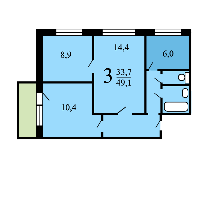 Дома серии ii-49 - планировка квартир.