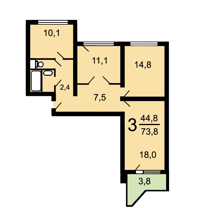 Типовой жилой дом серии П-44Т/25 планировки квартир, фото | 700x700