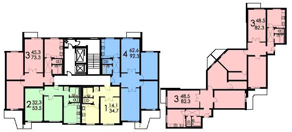 Серия дома п3 - планировка с размерами.