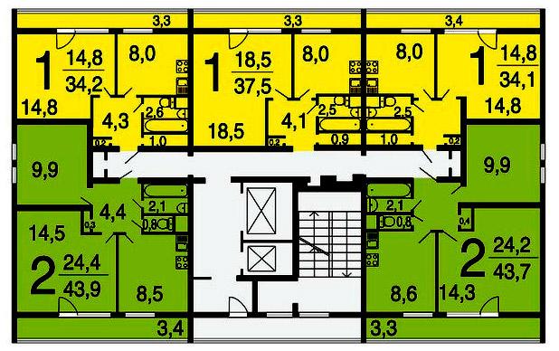 Дома серии ii-68-01/14-83 - планировка квартир.